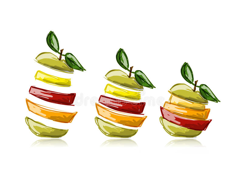 Slices of fruits, apple shape. Sketch for your royalty free illustration