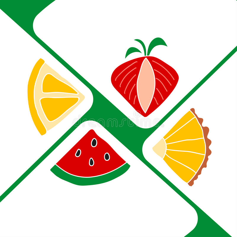 Slices of fruits on white paper triangles like an envelope. Can use as invitation card, poster royalty free illustration