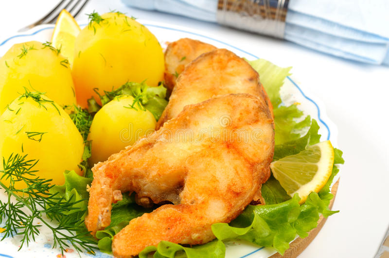 Slices of grilled sea bass. With boiled potatoes stock image