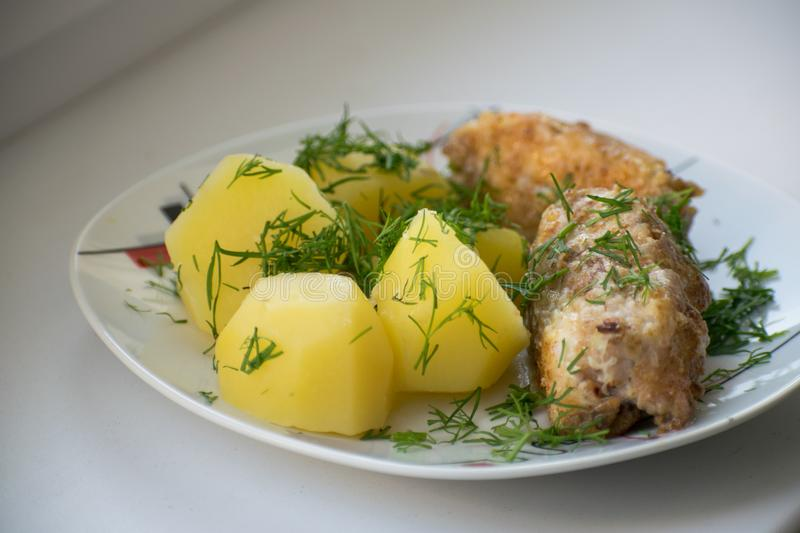 Slices of grilled sea bass with boiled potatoes on the plate. Slices of grilled sea bass with boiled potatoes stock photos
