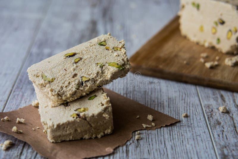 Slices of Halva with peanut. royalty free stock image