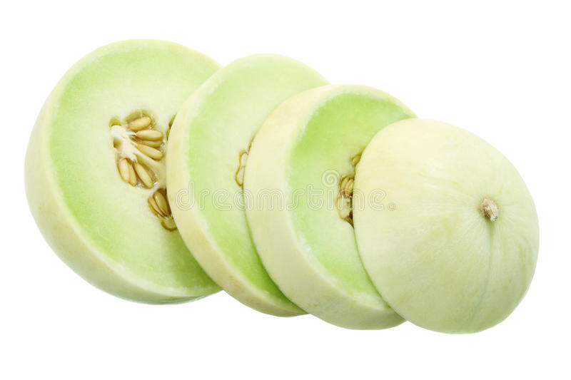 Slices of Honeydew Melon. On White Background stock images