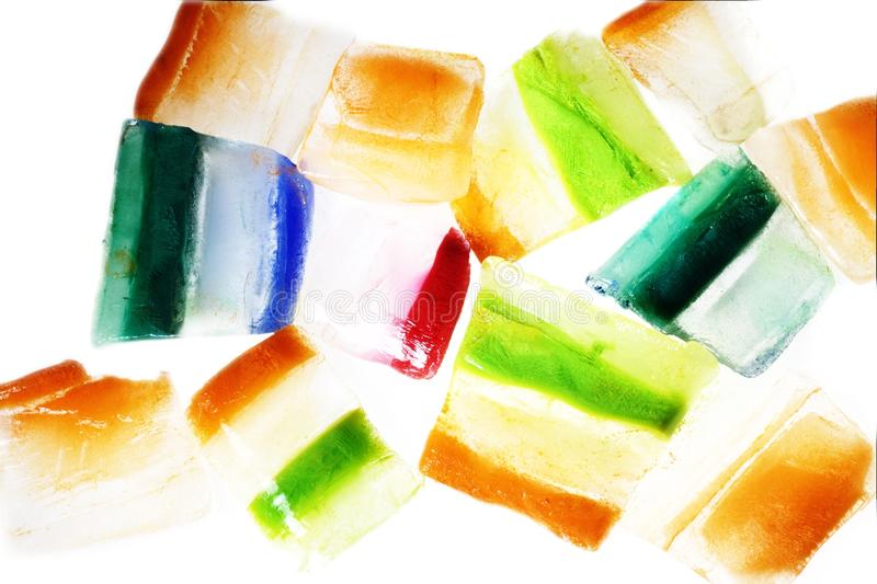 Slices of ice with alternating colors stock photo