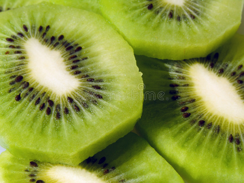 Slices of kiwi fruit stock photography