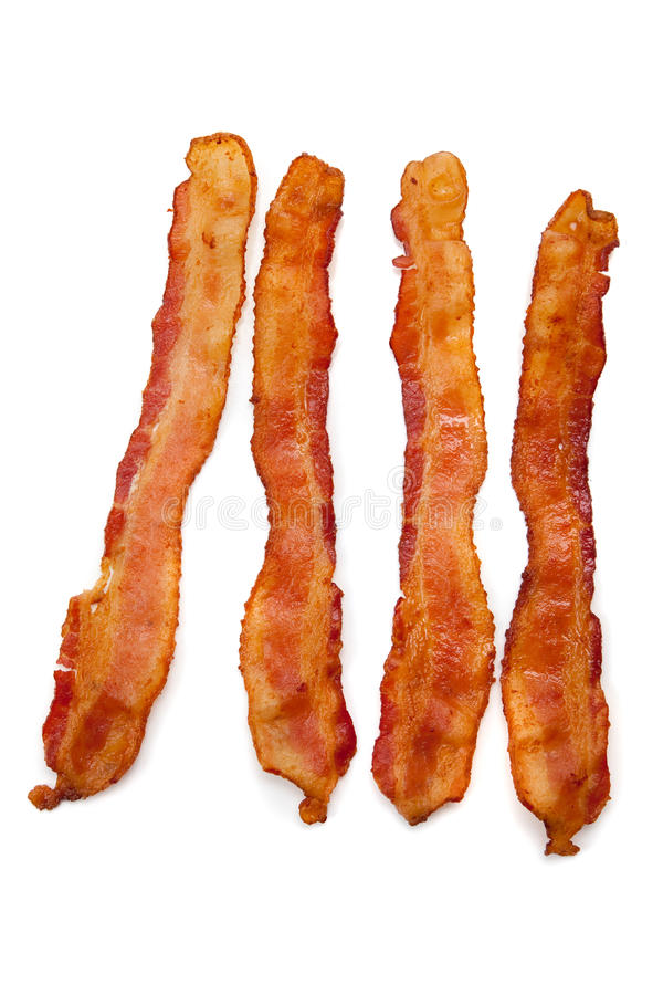 Free Slices Of Bacon On White Stock Photography - 11543212