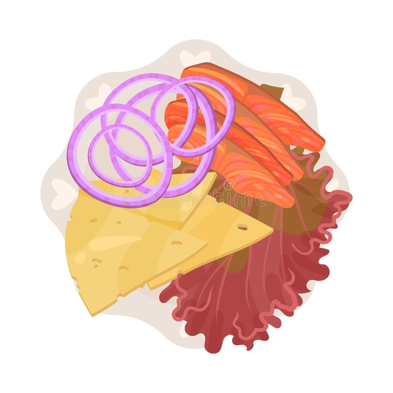 Free Slices Of Red Fish And Cheese On A Round Plate With Wavy Edges. Vector Illustration. Stock Image - 159493811