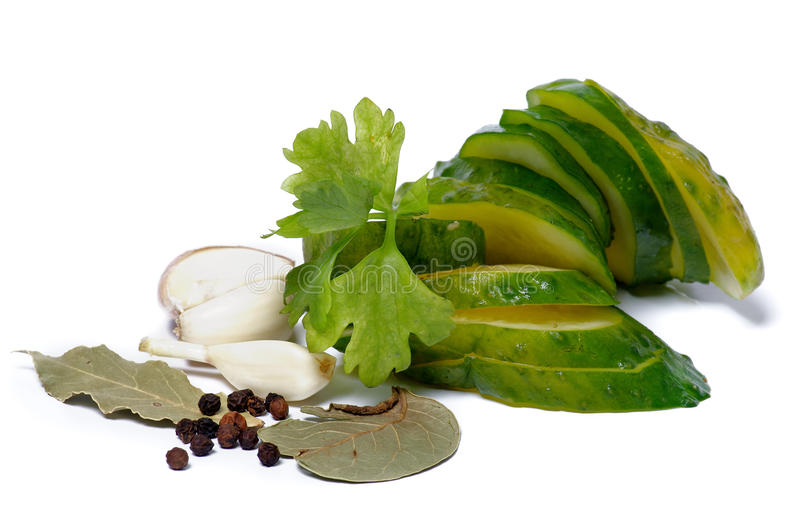 Download Slices Of Pickled Cucumbers And Spices Royalty Free Stock Images - Image: 25152359