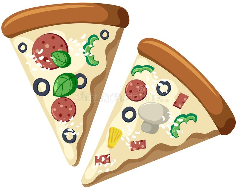 Slices of Pizza Cream Sauce stock illustration