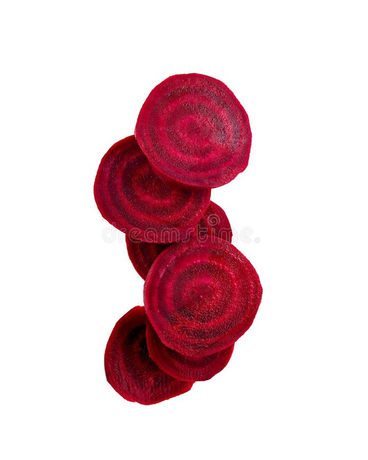 Common Beet Slices Against White Background. stock photo