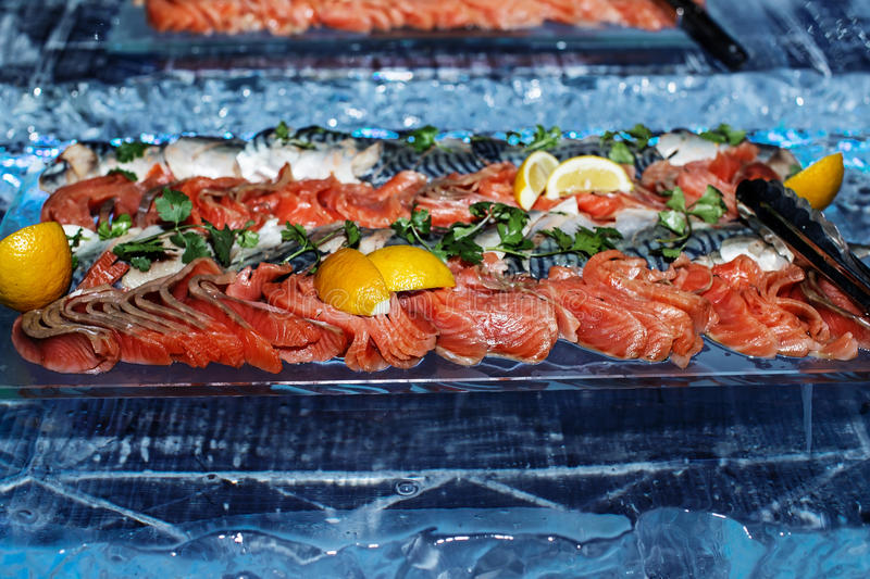 Slices of red fish royalty free stock images