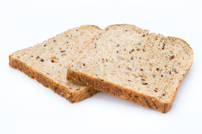 Slices of rye bread isolated on white background. stock images