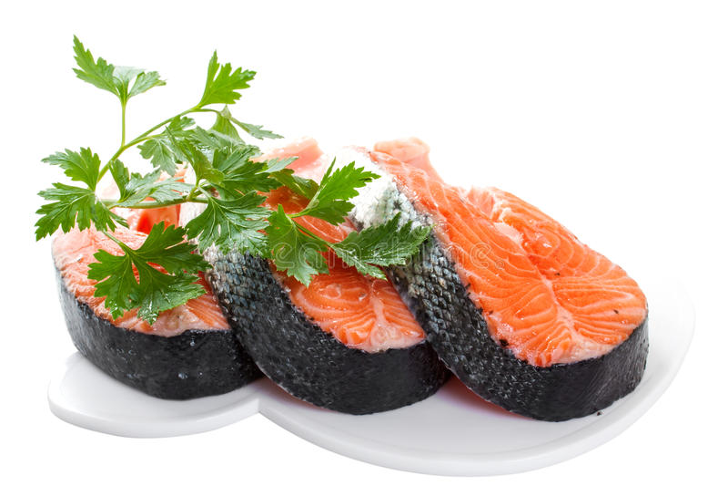 Slices of salmon stock photo