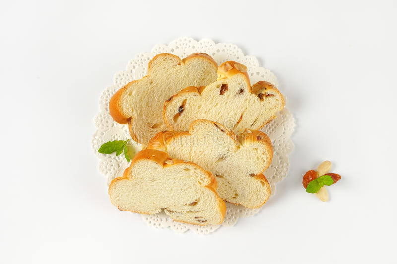 Slices of sweet braided bread royalty free stock photography
