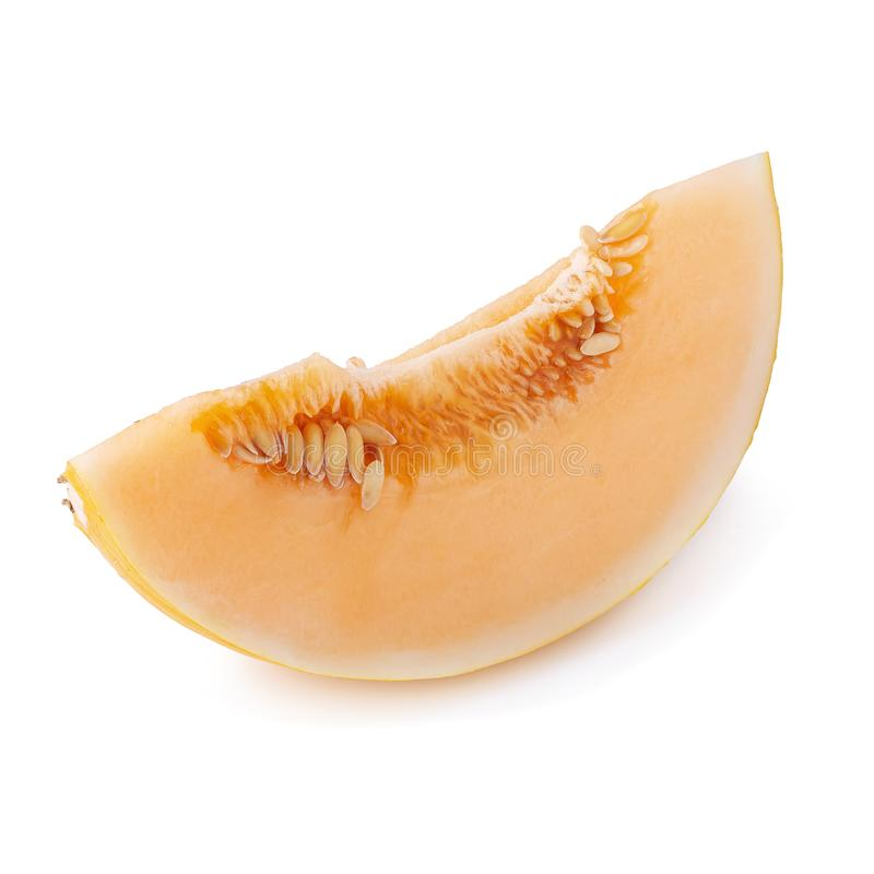 Slices sweet yellow melon with seeds isolated on white background. Juicy, healthy, ripe, diet, food, fresh, fruit, cut, orange, cantaloupe, object, honeydew royalty free stock photo