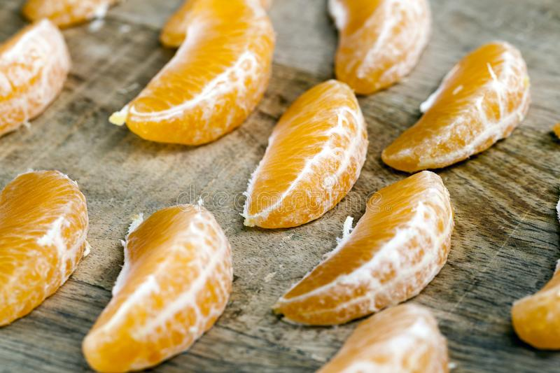 slices of tangerines stock images