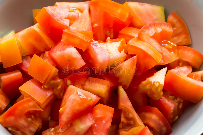 Slices of tomato in closeup stock image