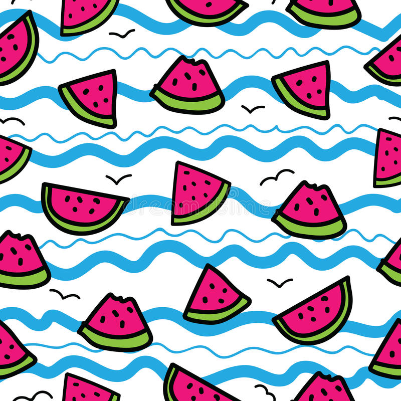Slices of watermelon on cartoon waves background. Seamless pattern in hand drawn style. Blue, pink, green, black outline stock illustration