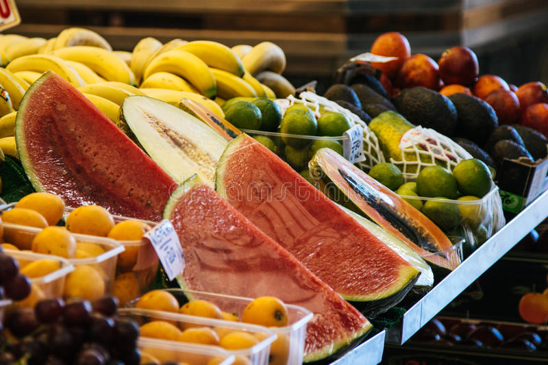 Download Slices Of Watermelon And Various Fruit At The Market Stock Image - Image: 83723501