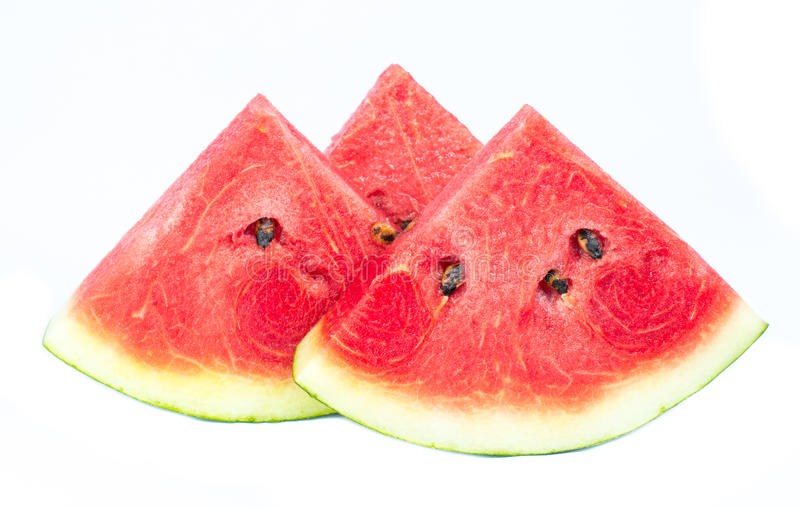 Slices of watermelon on white background stock images