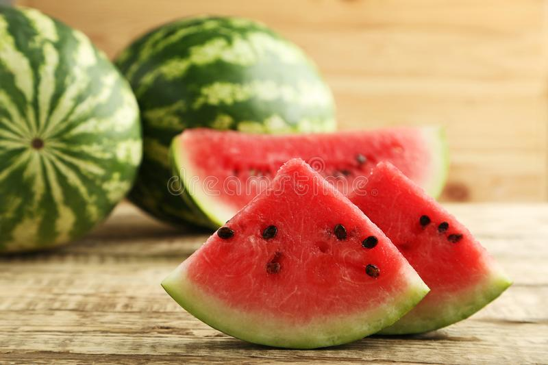 Slices of watermelons stock images