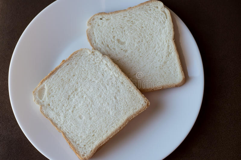2 Slices Of White Bread On A White Plate Stock Photo ...