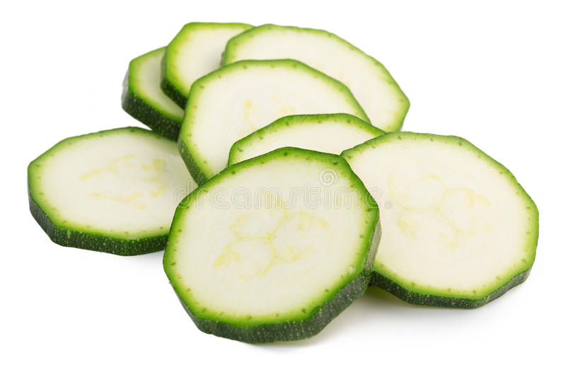 Green Zucchini Sliced In Round Slices Isolated. Stock ...