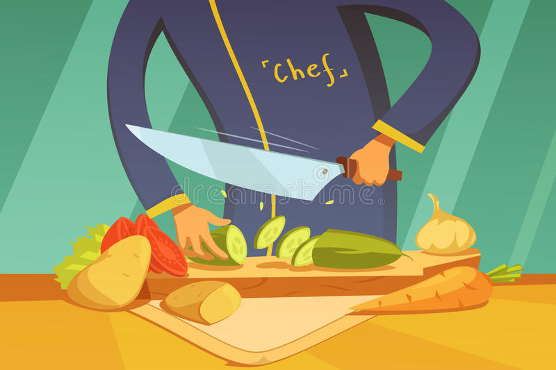 Slicing Vegetables Illustration. Chef slicing vegetables background with potato tomato cucumber and carrot cartoon vector illustration royalty free illustration
