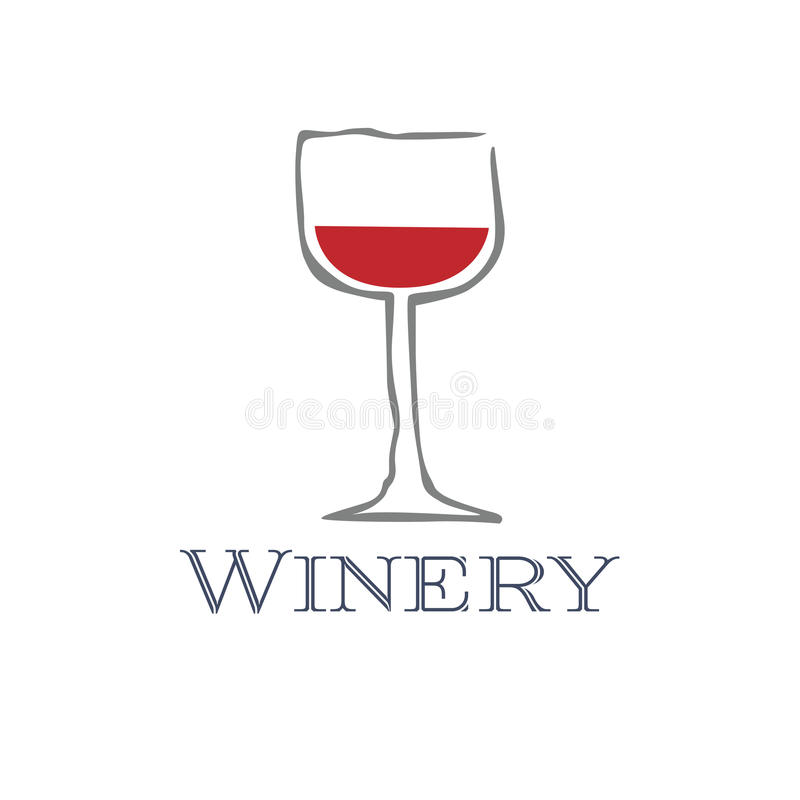 Slick modern vector illustration of a wine glass with a little red wine stock illustration