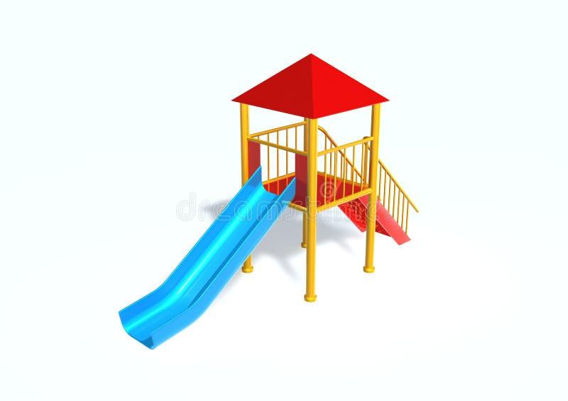 Slide. 3d render image with slide on white stock illustration