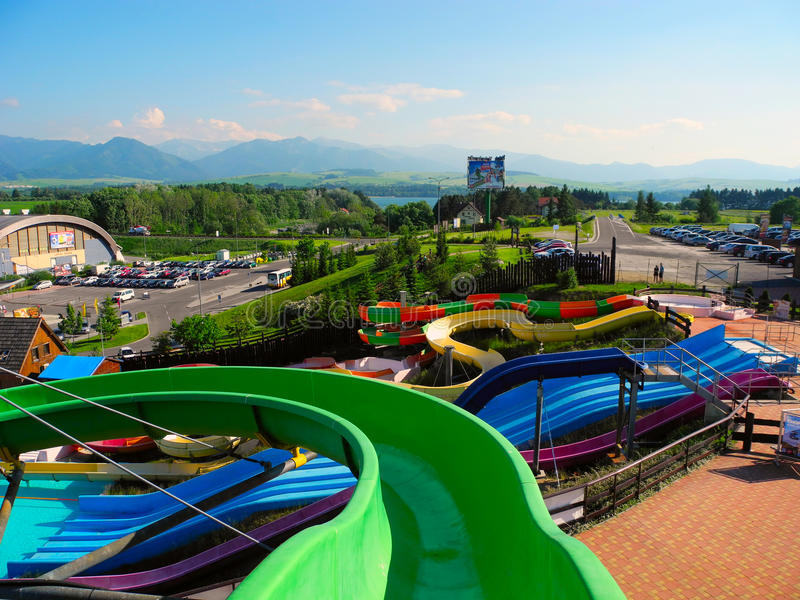 Slide at aquapark Tatralandia. stock photography