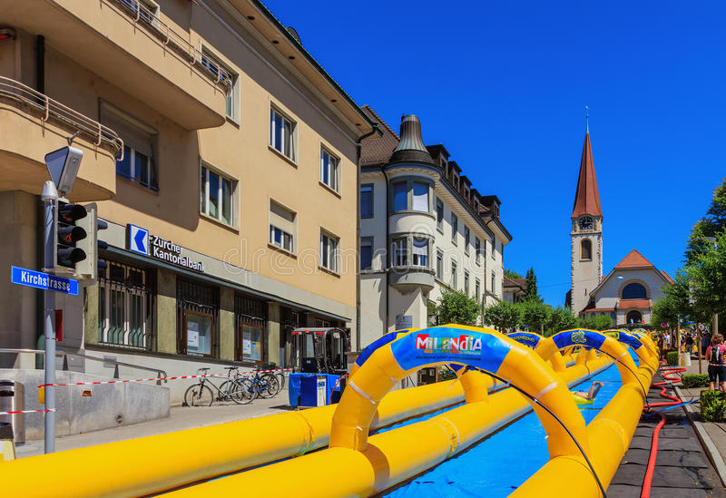 Slide my Day action of the Radio Zurisee in Wallisellen, Switzerland. Wallisellen, Switzerland - 18 June, 2017: the `Slide my Day` action of the Radio Zurisee in stock photography