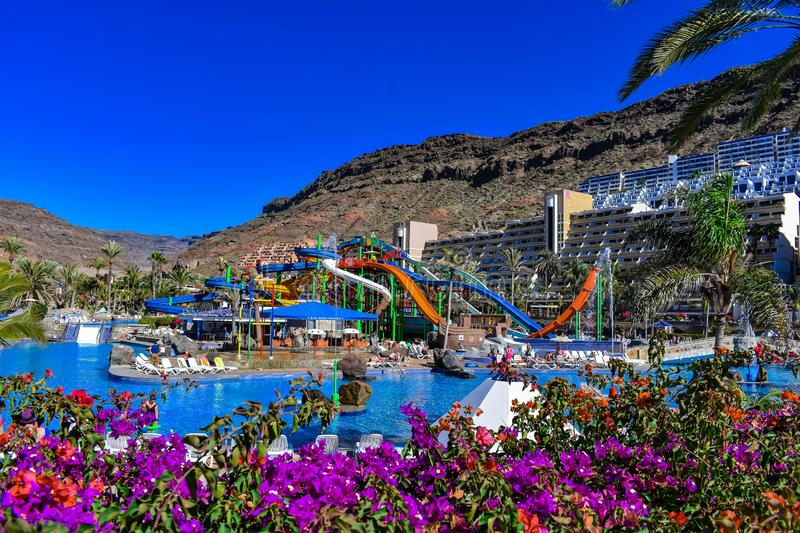 SLIDE AND SWIMMING POOL. Beautiful postal whit flower, Slide and swimming pool in a luxury resort in the south of canary island stock photography