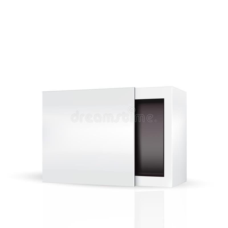 Slide to open modern white gray, black inside packaging box vector illustration