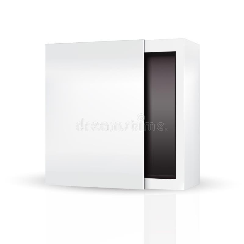 Slide to open modern white gray, black inside packaging box stock illustration