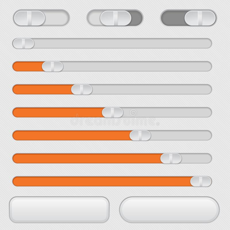 Slider bars and toggle switch buttons. Vector 3d illustration royalty free illustration