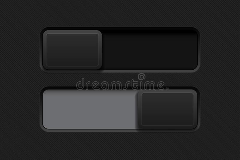 Slider buttons. Black 3d rectangle icons. Vector illustration royalty free illustration