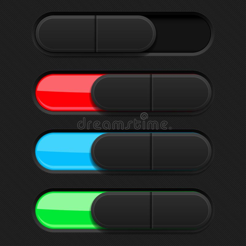 Slider buttons. Colored 3d oval icons. Vector illustration royalty free illustration