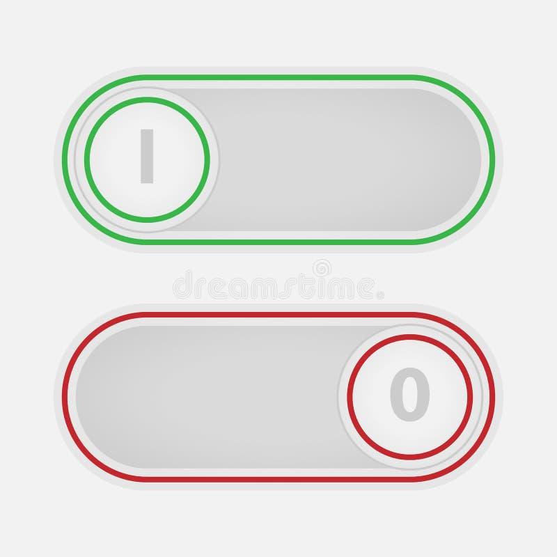 Slider do botão sobre fora Controles de relação do vetor ilustração do vetor