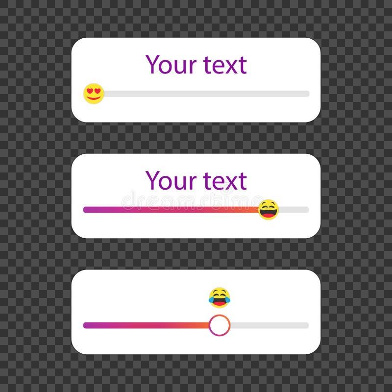 Slider emoji in social media. Template set. Template a poll in popular social media. vector illustration