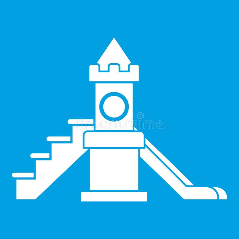 Slider, kids playground equipment icon white. Isolated on blue background vector illustration vector illustration