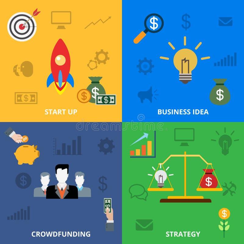 Slider liso crowdfunding da bandeira da estratégia da ideia Startup do negócio ilustração royalty free