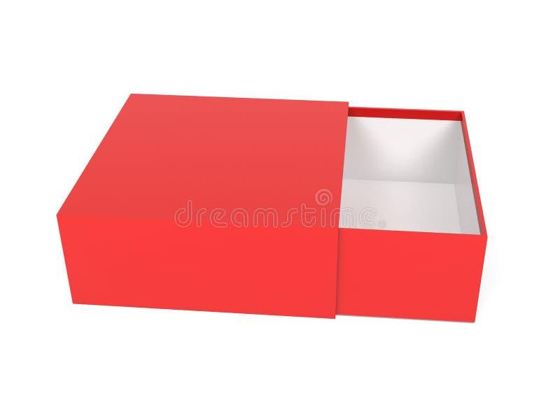 Slider-ruta Röd tom öppen låda upp 3d-återgivningsbild stock illustrationer