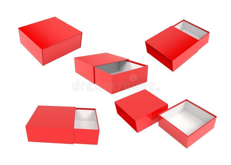 Slider-ruta Röd tom öppen låda upp 3d-återgivningsbild royaltyfri illustrationer