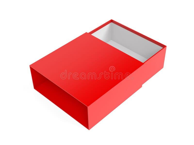 Slider-ruta Röd tom öppen låda upp 3d-återgivningsbild vektor illustrationer