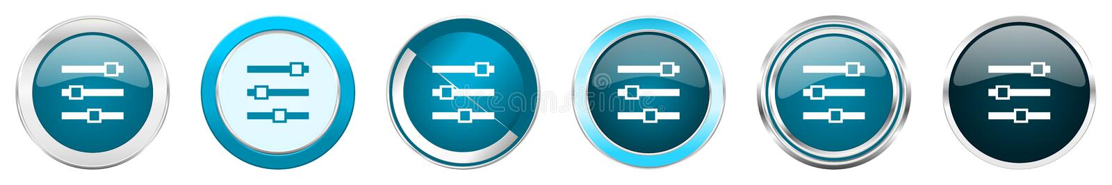 Slider silver metallic chrome border icons in 6 options, set of web blue round buttons isolated on white background.  royalty free illustration