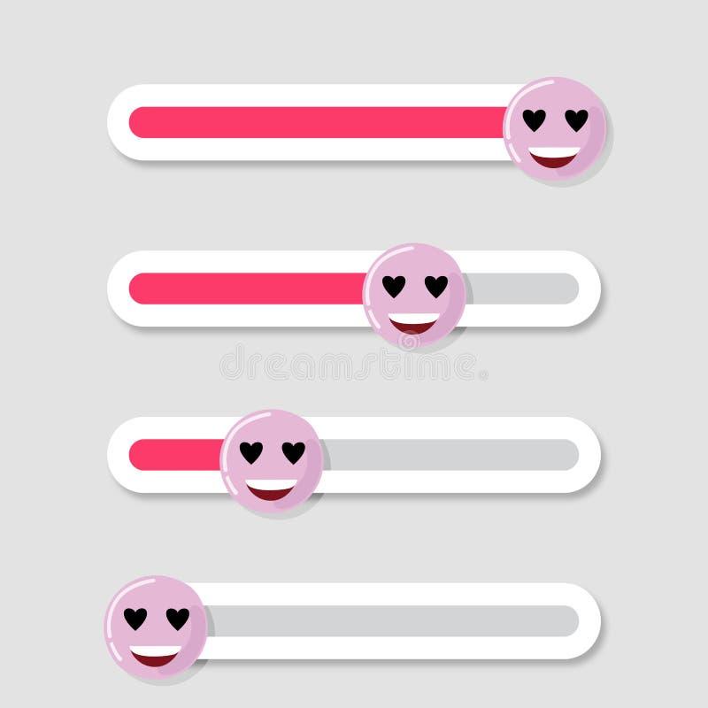 Slider social interface, emoji-kärlek royaltyfri illustrationer