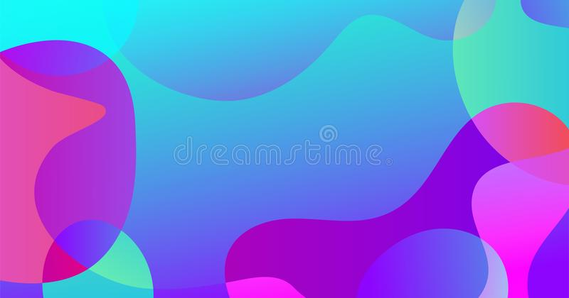 Slider template of fluid organic shapes. Liquid effect background. Vector abstract blur wave shapes in gradient iridescent colors effect soft transition. Slider stock illustration