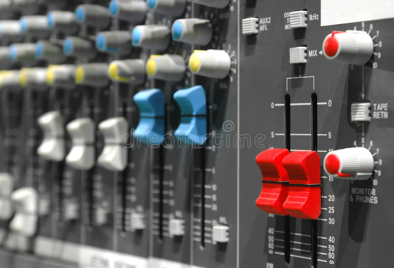 Slideres de Soundboard imagem de stock royalty free