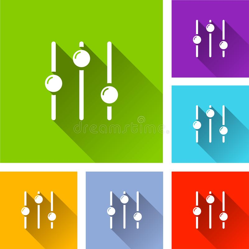 Sliders icons with long shadow royalty free illustration