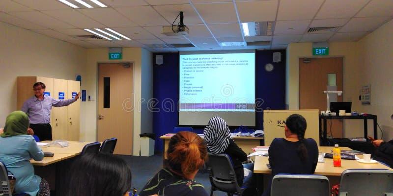 Slideshow presentation in classroom stock photo